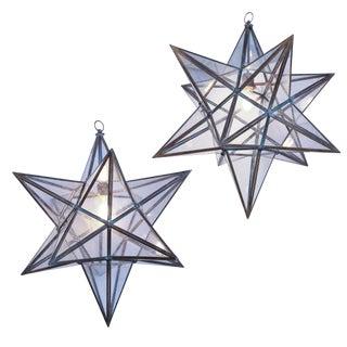 Two Large Glass Paneled Star Lanterns