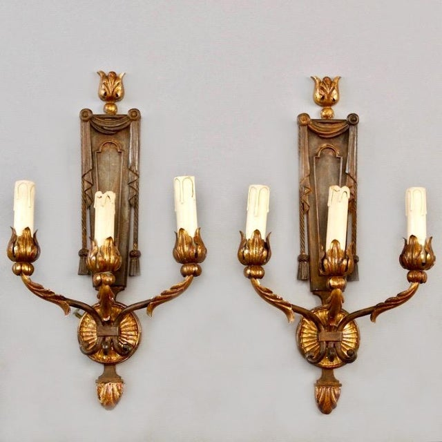 Image of French Neoclassical Three-Light Gilt Metal Sconces - A Pair