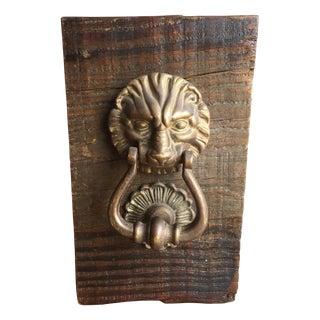 Antique Brass Mounted Lion Door Knocker