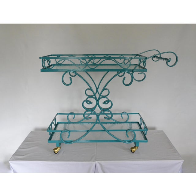 Vintage Wrought Iron & Glass Restored Teal Bar Cart - Image 3 of 5