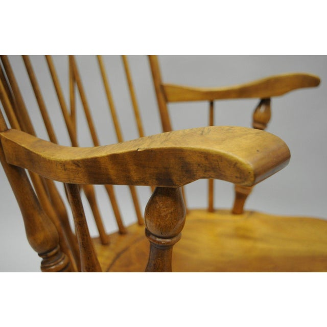 Colonial Traditional Vtg Nichols & Stone Maple Wood Windsor Rocking Chair Rocker - Image 7 of 11