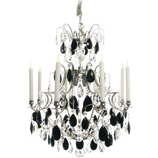 Baroque 8 Arm Nickel & Black Almond Chandelier