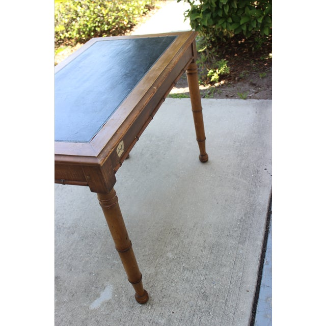 Faux Bamboo Desk with Leather Inlay - Image 10 of 11