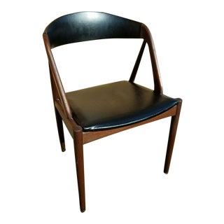 Kai Kristiansen for Raymor Black Leather and Teak Chair Model 31