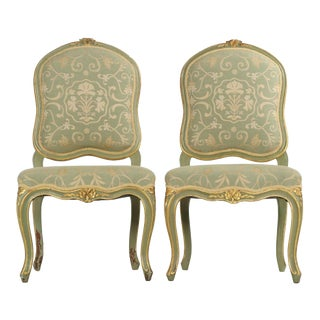 19th C. French Louis XV Painted Side Chairs - Pair
