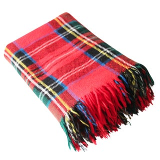 Vintage Red Plaid Throw