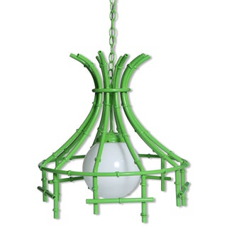 Faux Bamboo Lime Metal Chandelier