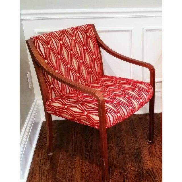 Stow Davis Velvet Geometric Chairs - A Pair - Image 4 of 8