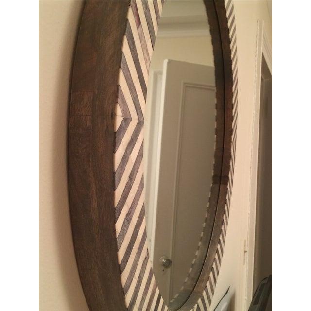 West Elm Round Herringbone Parsons Wall Mirror Chairish