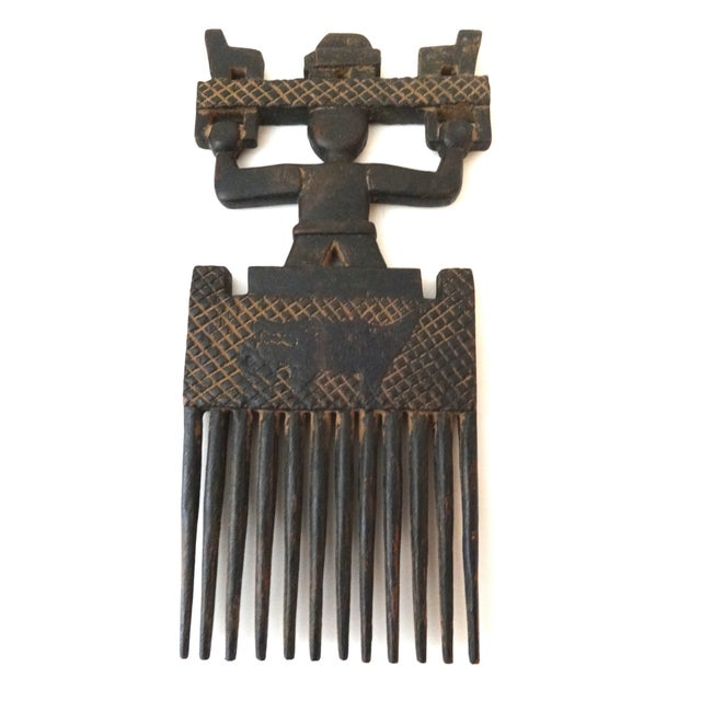 African Ashanti Tribe Carved Comb Figure Ghana - Image 4 of 6