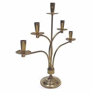 Parzinger-Style Large Brass Five Arm Candelabra