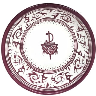 Moroccan Hand-Painted Burgundy Medium Ceramic Bowl