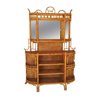 Vintage Bamboo Sideboard with Mirror