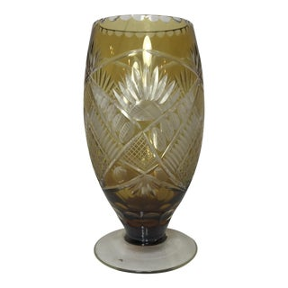 1940s Etched Bohemian Glass Vase