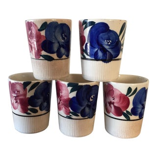 Vintage Mexican Style Pottery Tumblers - Set of 5