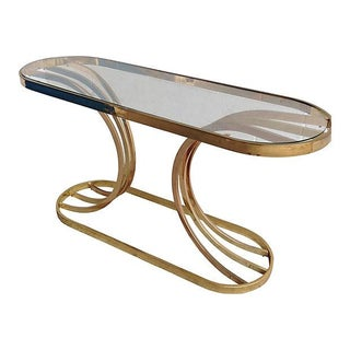 Hollywood Regency Oblong Brass Console