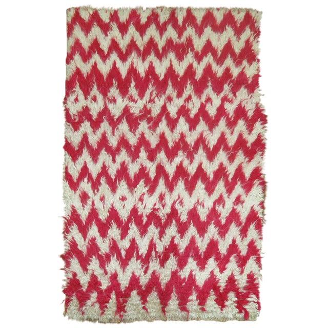 Turkish White Pink Shag Rug 3 39 6 X 5 39 4 Chairish
