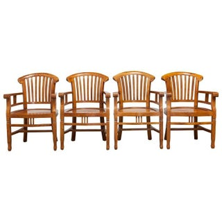Solid Hand-Carved Teak Armchairs - Set of 4