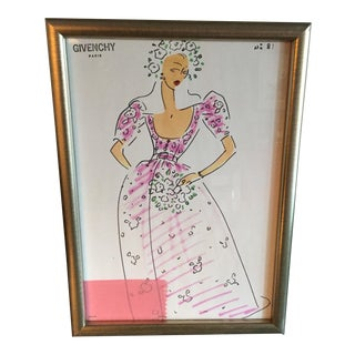 Framed Givenchy Croquis of a Pink Bridesmaid