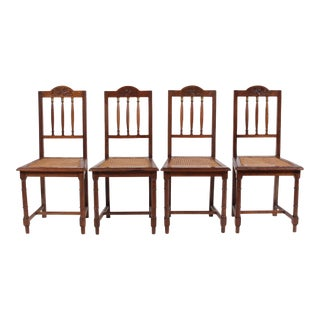 Antique English Brass and Oak Spindle Chairs, S/4