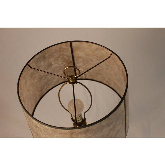 Image of Silvery Brass Lamp With Mica Shade