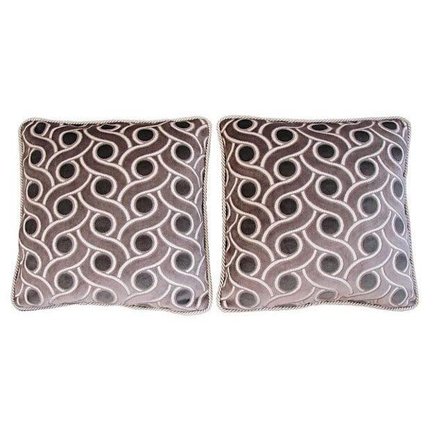 Custom Osborne & Little Cut Velvet Pillows - Pair - Image 6 of 7