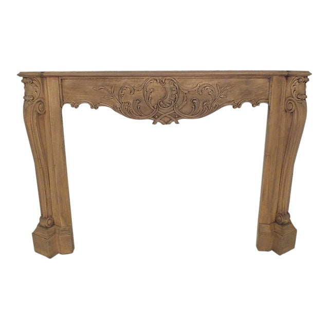 French Louis XVI Style Bleached Wood Fireplace Mantle - Image 1 of 4