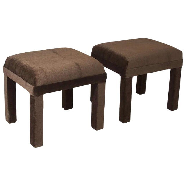 Mid-Century Sorrel Mohair Stools - A Pair - Image 1 of 4