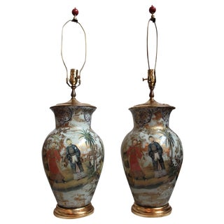 Decoupage Glass Urn Table Lamps - Pair