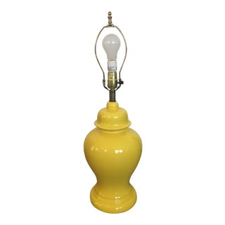 Vintage Canary Yellow Porcelain Large Ginger Jar Lamp