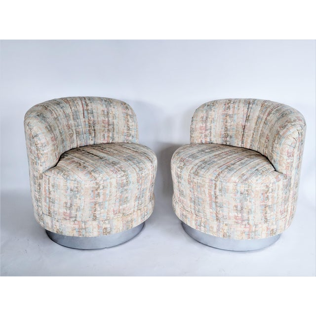 Milo Baughman Style Swivel Lounge Chairs - a Pair - Image 3 of 10