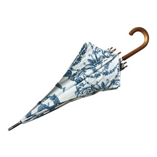 Custom Made Blue & White Umbrella-Wood Handle-1980's