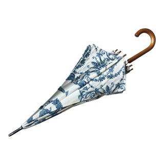 Custom Made Blue & White Umbrella-Wood Handle-1980's