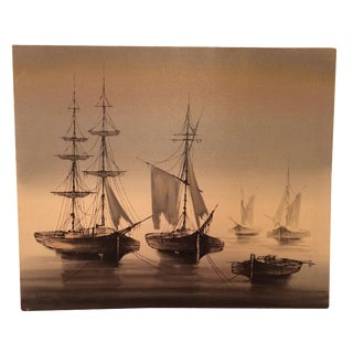 """""""Ships on the Mist"""" Oil Painting by Bouvier"""