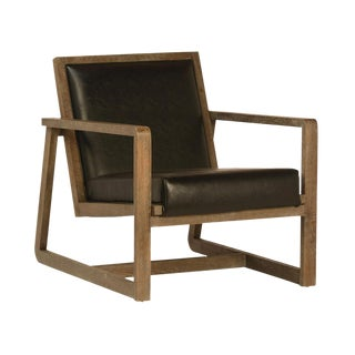 Brown Oak & Leather Armchair