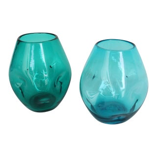 Blue Blenko Pinch Vases  - Set of 2