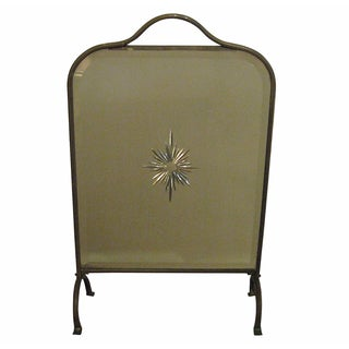1930s Antique Glass & Brass Fire Screen