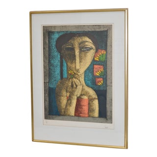 """1960s Vintage """"Girl with Flower"""" Lithograph"""