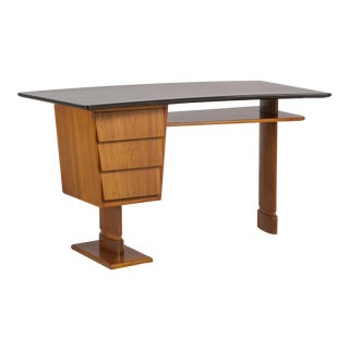 An Unusual Italian Walnut and Jet Black Lacquered Desk, 1950s