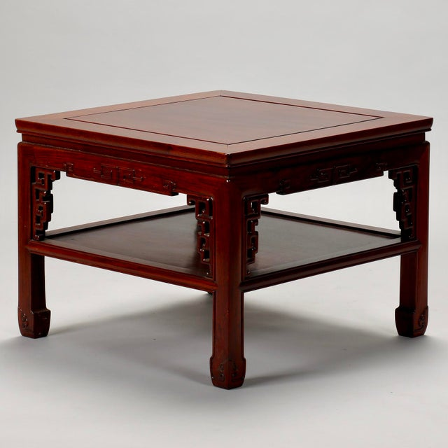 Chinese Carved Wooden Square Cocktail Table c.1930s - Image 2 of 7