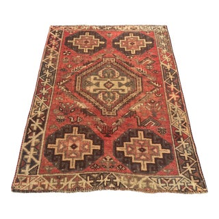 "Vintage Persian Distressed Shiraz Rug - 3'5"" x 5'"