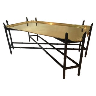 Burge Regency Faux Bamboo And Brass Tray Table