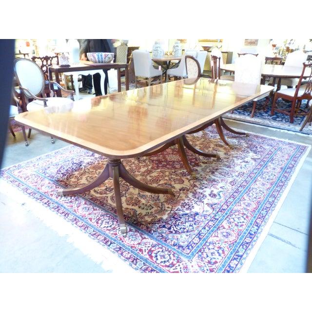 Image of Kittinger Triple Pedestal Mahogany Dining Table