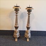 Image of Oversize Wooden Candleholders - A Pair