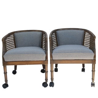 Blue Bamboo-Style Cane Club Chairs - A Pair