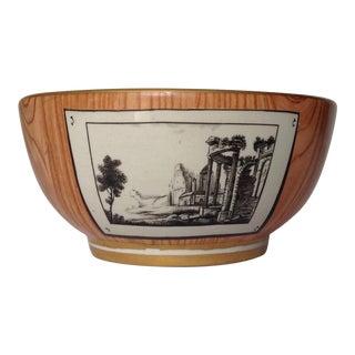 c.1920s Gio Ponti Attr. Faux-Bois Tromp L'oeil Ceramic Bowl