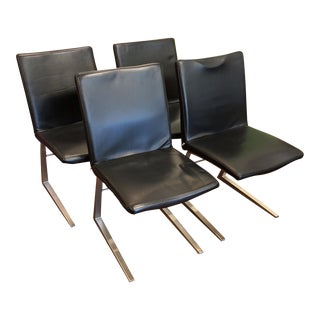 BoConcept Black Leather Mariposa Dining Chairs - Set of 4