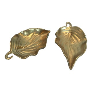 Vintage Gold Metal Leaf Dishes - A Pair