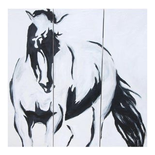 Emily Powell Black & White Abstract Horse Painting Triptych - Set of 3