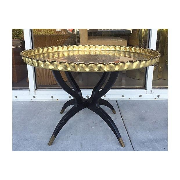 Anglo-Indian Mid-Century Brass Tray Side Table